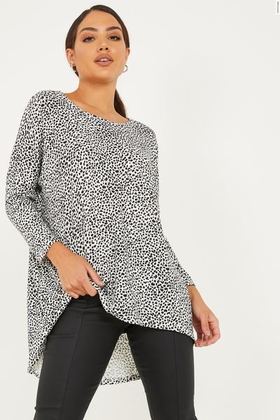 White Light Knit Dalmatian Print Top